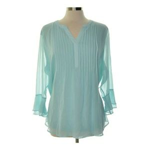 Charter Club Womens Mint Pleated Blouse